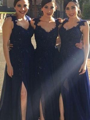 A-Line/Princess Sweetheart Sleeveless Floor-Length Lace Chiffon Bridesmaid Dresses