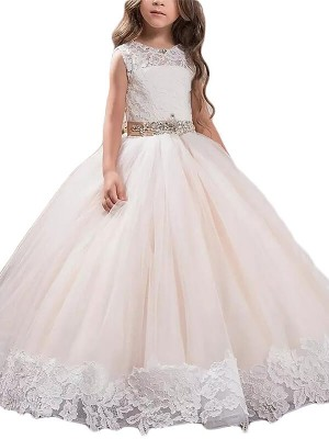 fdb28697e07 Ball Gown Jewel Short Sleeves Crystal Floor-Length Tulle Flower Girl ...