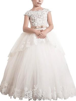 Ball Gown Sleeveless Scoop Lace Floor-Length Tulle Flower Girl Dresses