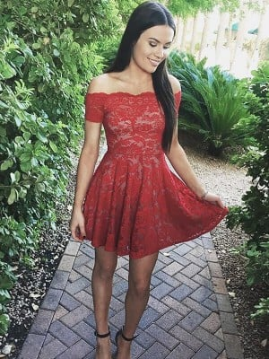 A-Line/Princess Off-the-Shoulder Short Sleeves Short/Mini Lace Dresses