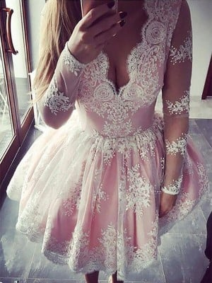 A-Line/Princess V-neck Long Sleeves Lace Short/Mini Dresses