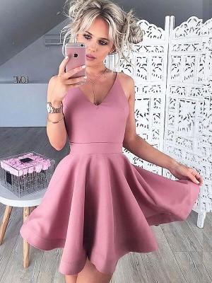 A-Line/Princess V-neck Satin Sleeveless Short/Mini Dresses