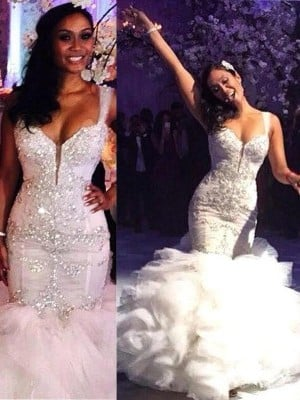 Trumpet/Mermaid Sleeveless Sweep/Brush Train Organza Straps Wedding Dresses