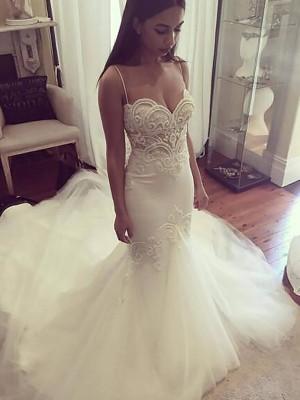 Trumpet/Mermaid Spaghetti Straps Sleeveless Chapel Train Tulle Wedding Dresses