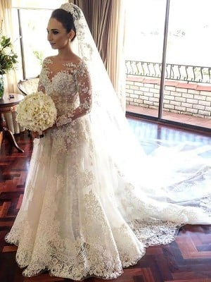 A-Line/Princess Bateau Long Sleeves Lace Chapel Train Tulle Wedding Dresses