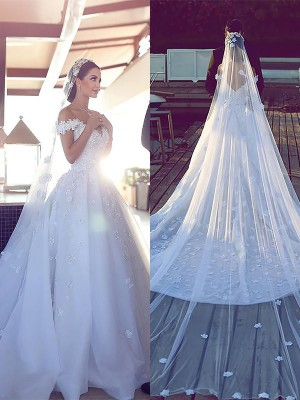 Ball Gown Satin Chiffon V-neck Sleeveless Chapel Train Wedding Dresses