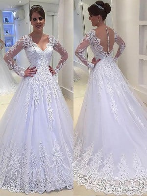 A-Line/Princess Applique V-neck Court Train Tulle Long Sleeves Wedding Dresses