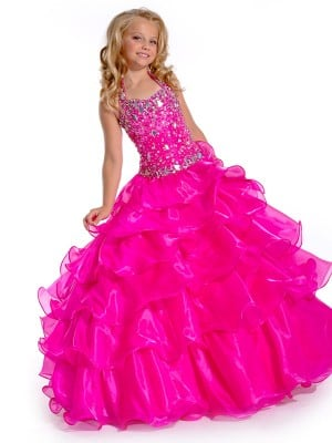 Ball Gown Halter Sleeveless Rhinestone Long Organza Flower Girl Dresses