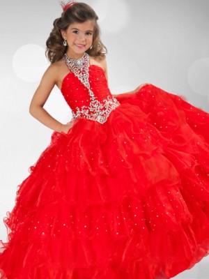 Ball Gown Halter Sequin Rhinestone Sleeveless Long Organza Flower Girl Dresses