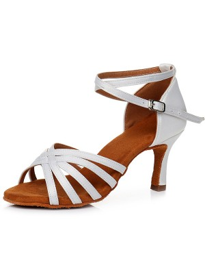 Women's Peep Toe Buckle Satin Cone Heel Sandals