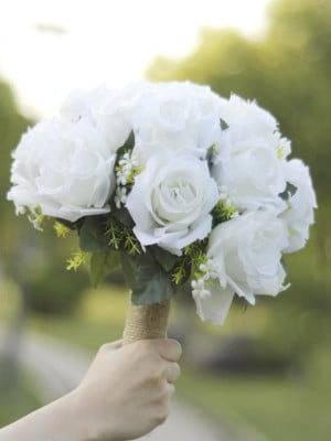 Pure Round Silk Flower Bridal Bouquets