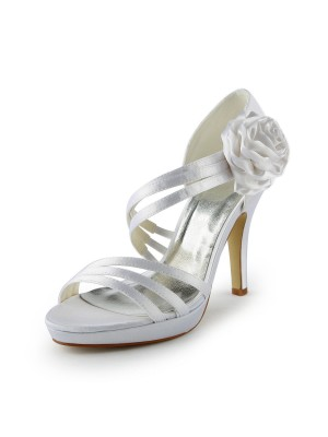 Women's Satin Stiletto Heel Platform Sandals White Wedding Shoes With Flower