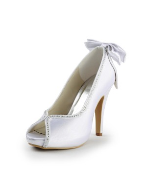 Women's Satin Stiletto Heel Peep Toe With Bowknot White Wedding Shoes