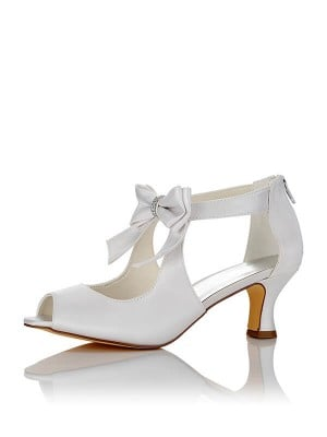 Women's Satin PU Peep Toe Spool Heel Wedding Shoes