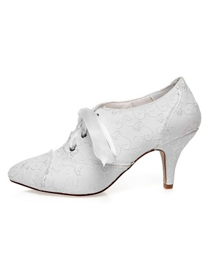 Women's Satin Closed Toe Silk Cone Heel Wedding Shoes