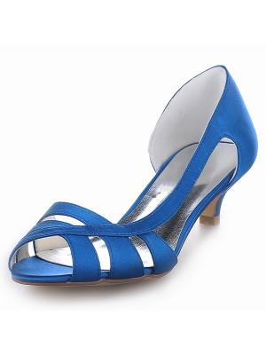 Women's Satin Peep Toe Kitten Heel Sandals Shoes