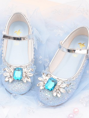 Girl's PU With Crystal Closed Toe Low Heel Flower Girl Shoes
