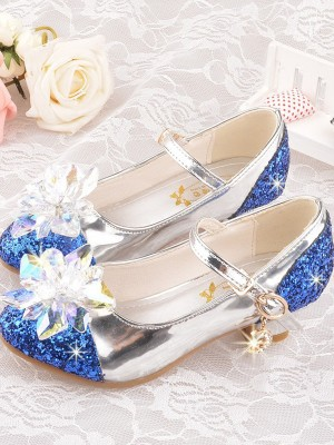 Girl's Leatherette With Flower Closed Toe Low Heel Flower Girl Shoes