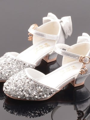 Girl's Leatherette With Sequin Closed Toe Low Heel Flower Girl Shoes
