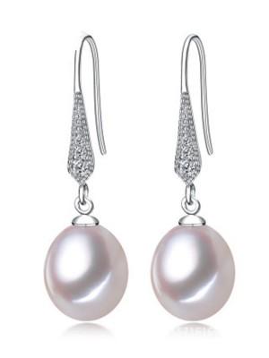 Simple S925 Silver With Pearl Ladies's Earrings