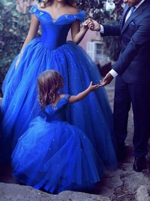 Ball Gown Off-the-Shoulder Sleeveless Floor-Length Beading Tulle Dresses