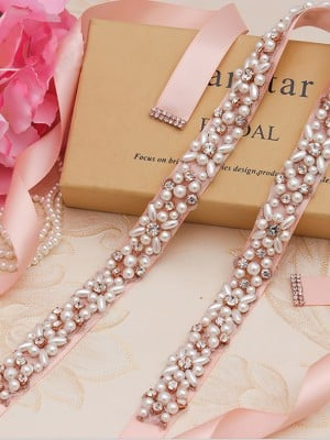 Pretty Cloth Sashes With Rhinestones/Imitation Pearls