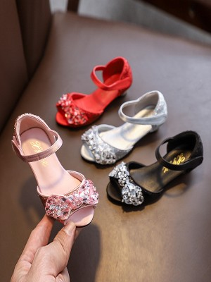 Girl's Low Heel Peep Toe Microfiber Leather With Bowknot Flower Girl Shoes