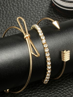 Gorgeous Alloy With Rhinestone/Bowknot Hot Sale Bracelets(3 Pieces)
