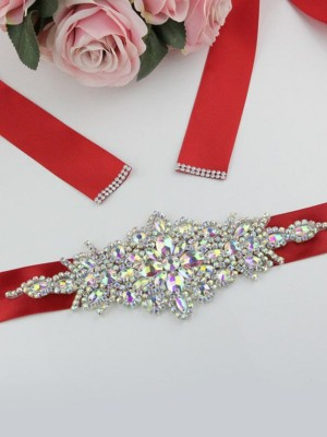 Unique Polyester Fiber Sashes With Rhinestones