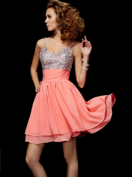A-Line/Princess V-neck Sleeveless Beading Short Chiffon Homecoming Dresses