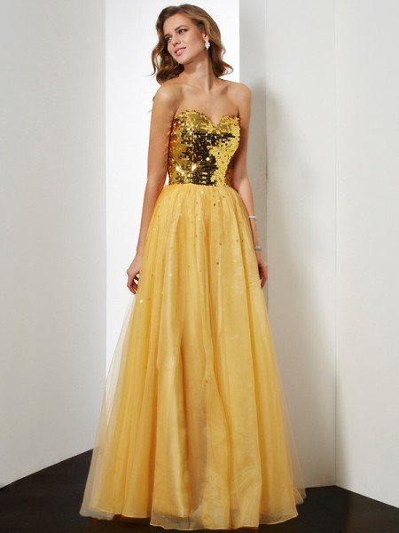 Ball Gown Sweetheart Sleeveless Sequin Long Organza Dresses
