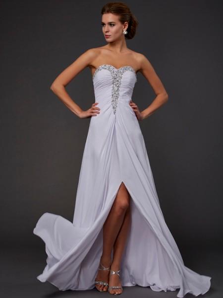 Sheath/Column Strapless Sleeveless Beading Long Chiffon Dresses