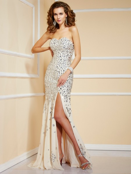 Sheath/Column Sweetheart Beading Sleeveless Long Chiffon Dresses