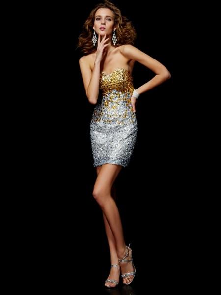 Sheath/Column Sweetheart Sleeveless Beading Short Lace Homecoming Dresses