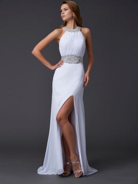 A-Line/Princess Scoop Sleeveless Ruffles Long Chiffon Dresses