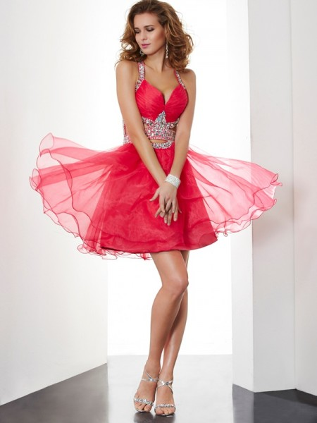 A-Line/Princess Halter Sleeveless Beading Short Organza Homecoming Dresses