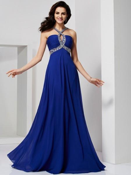A-Line/Princess Sleeveless Pleats Long Chiffon Dresses