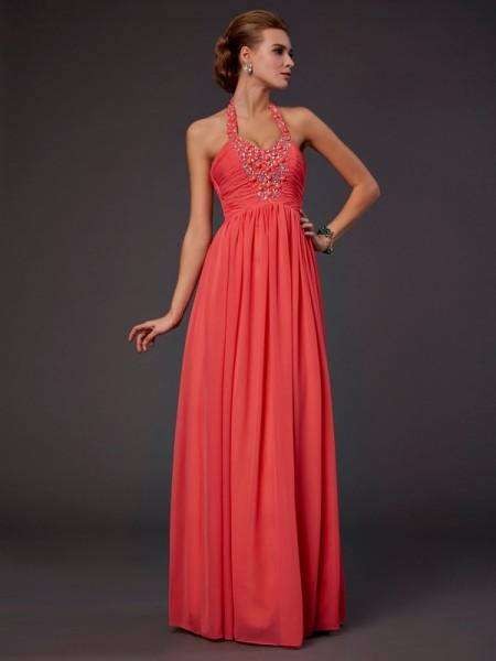 A-Line/Princess Halter Sleeveless Hand-Made Flower Long Chiffon Dresses