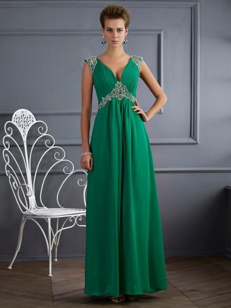 A-Line/Princess V-neck Short Sleeves Beading Long Chiffon Dresses