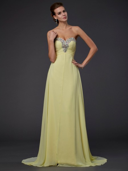 A-Line/Princess Sweetheart Beading Long Sleeveless Chiffon Dresses