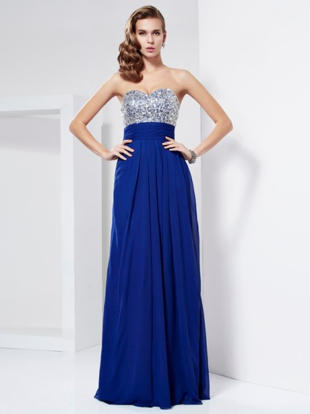 Sheath/Column Sweetheart Sleeveless Rhinestone Long Chiffon Dresses