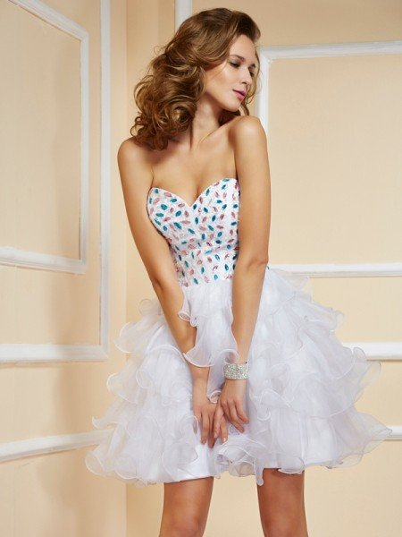 A-Line/Princess Sweetheart Sleeveless Rhinestone Short Organza Homecoming Dresses
