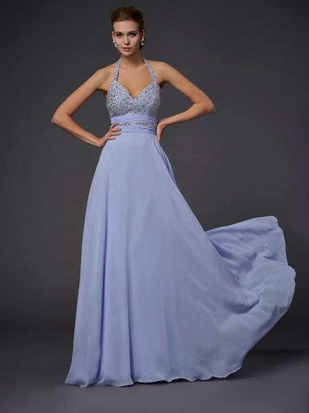 A-Line/Princess Halter Sleeveless Beading Chiffon Long Dresses