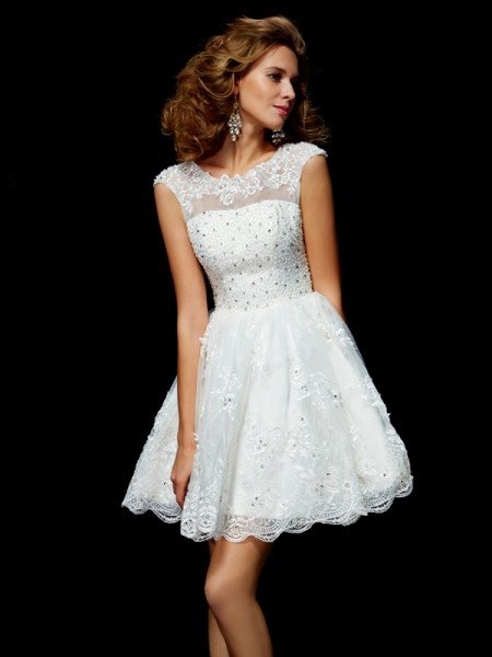 A-Line/Princess V-neck Short Sleeves Applique Short Organza Homecoming Dresses