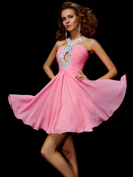 A-Line/Princess V-neck Sleeveless Beading Sequin Short Chiffon Homecoming Dresses