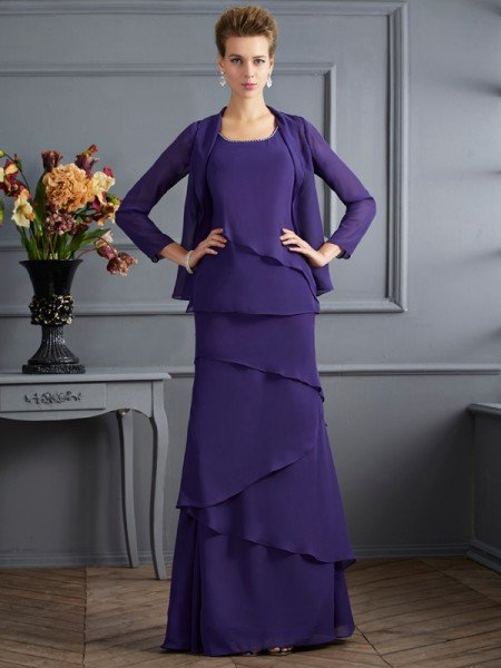 Sheath/Column Scoop Sleeveless Ruffles Long Chiffon Mother of the Bride Dresses