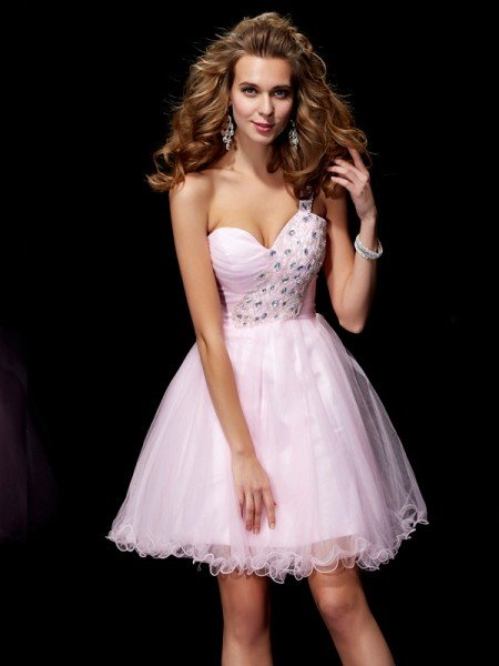 A-Line/Princess One-Shoulder Sleeveless Beading Short Elastic Woven Satin Homecoming Dresses