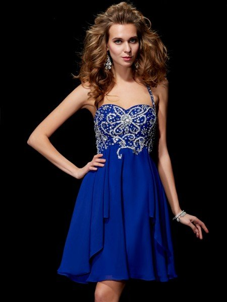 A-Line/Princess Halter Sleeveless Beading Short Chiffon Homecoming Dresses