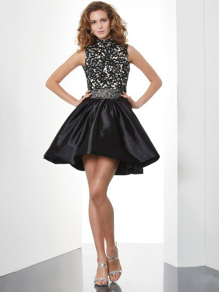 A-Line/Princess High Neck Sleeveless Beading Short Taffeta Homecoming Dresses