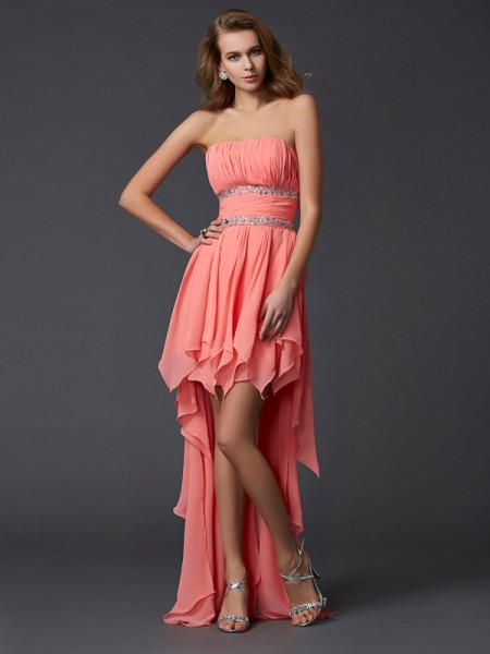 Empire Strapless Sleeveless Ruffles High Low Chiffon Homecoming Dresses